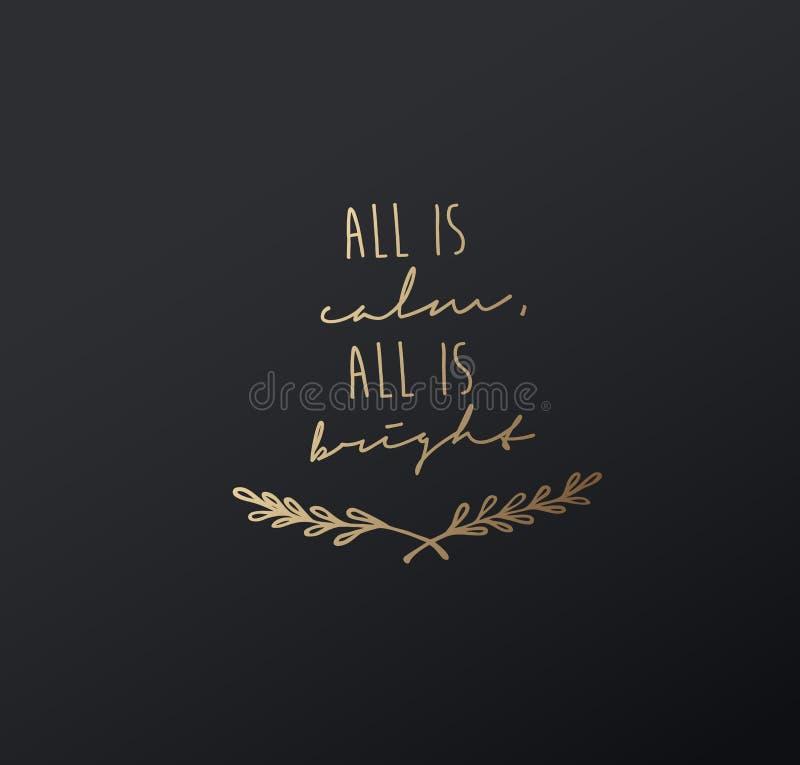Donkergrijze Kerstmis vectorillustratie als achtergrond met gouden Kerstmiswensen - allen is kalm, is allen helder stock illustratie