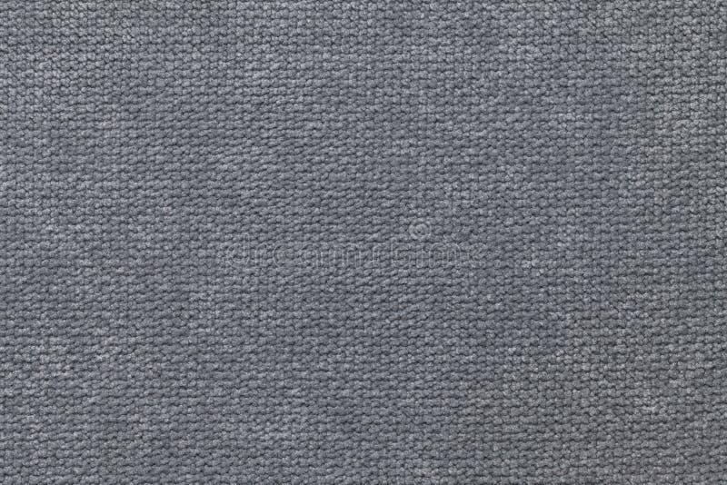 Donkergrijze pluizige achtergrond van zachte, wolachtige doek Textuur van textielclose-up royalty-vrije stock foto
