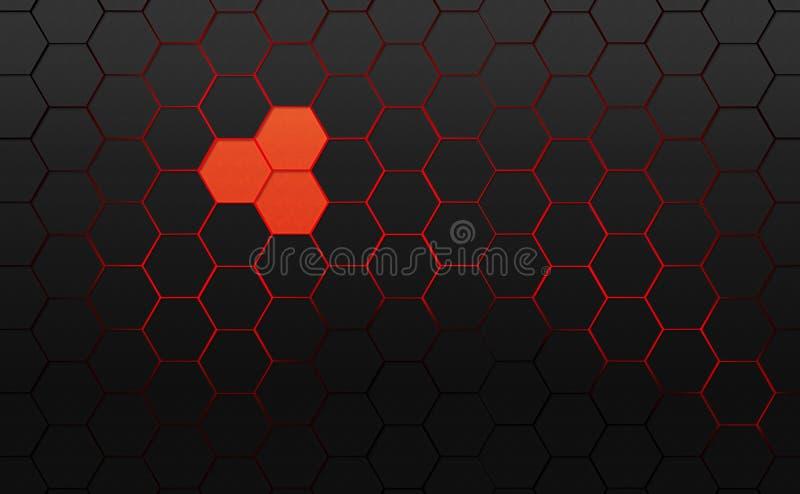 donkergrijze zeshoeken stock illustratie