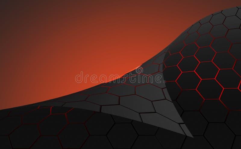 Donkergrijze zeshoeken met rode achtergrond vector illustratie