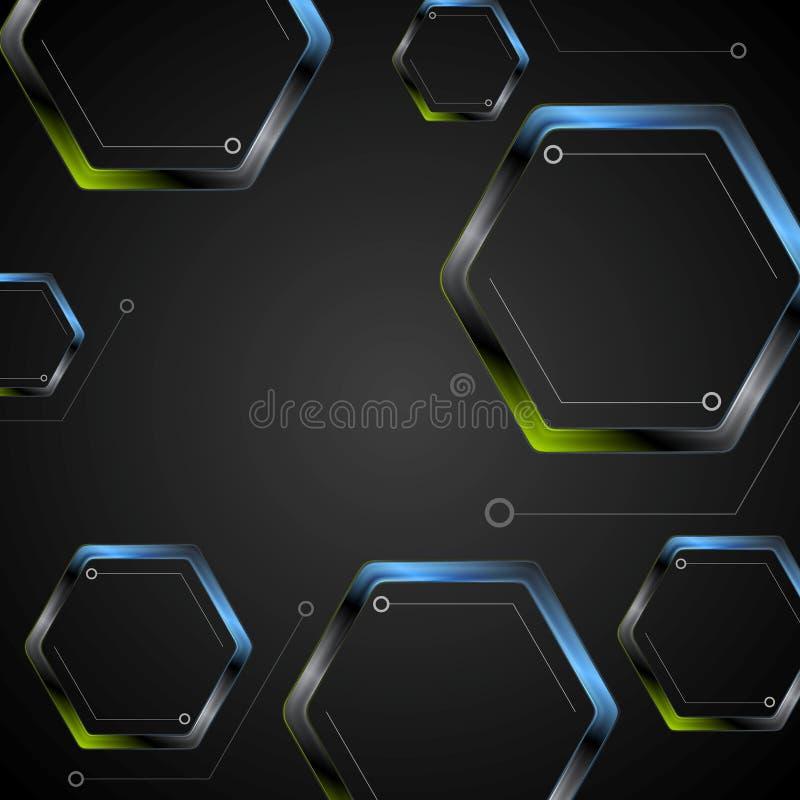 Donkergroene blauwe geometrische zeshoekenachtergrond stock illustratie