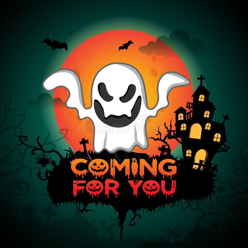 Donkergroene Gelukkige Halloween-Illustratie Als achtergrond met eng wit spook royalty-vrije illustratie
