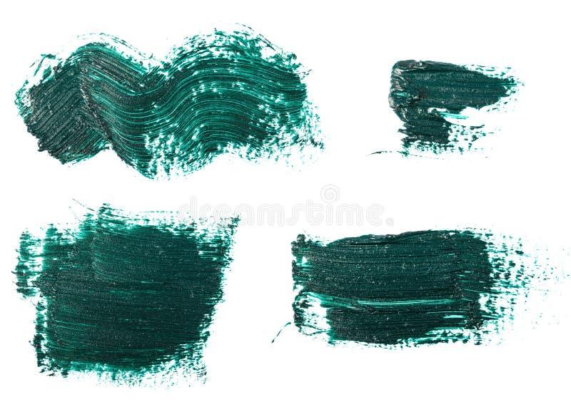 Donkergroene olieverf op wit reeks royalty-vrije stock afbeelding