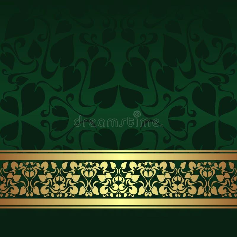 Donkergroene sierachtergrond met gouden lint. vector illustratie