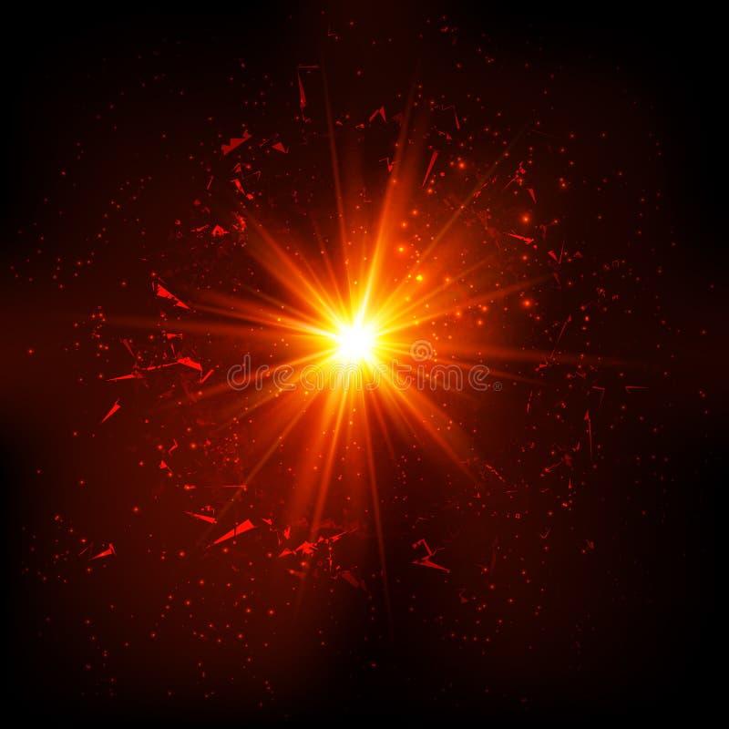 Donkerrode ruimte vectorexplosie royalty-vrije illustratie