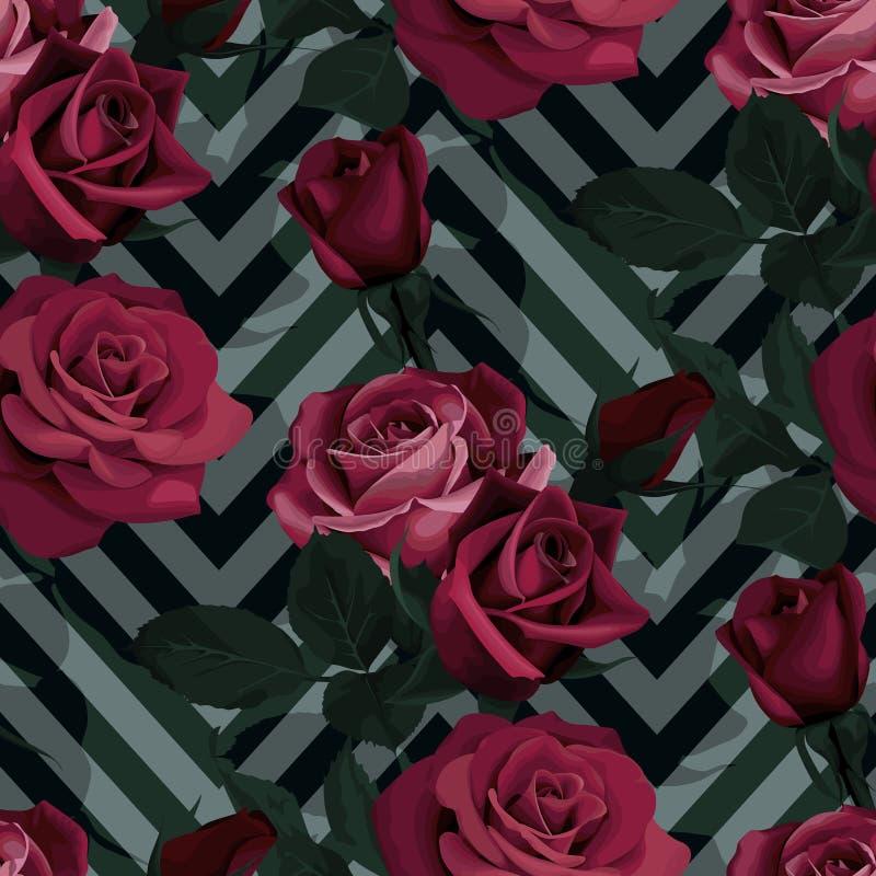 Donkerrood rozen vector naadloos patroon De donkere bloemen op chevronachtergrond, bloeiden textuur stock illustratie