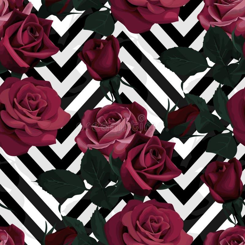 Donkerrood rozen vector naadloos patroon De donkere bloemen op zwart-witte chevronachtergrond, bloeiden textuur royalty-vrije illustratie