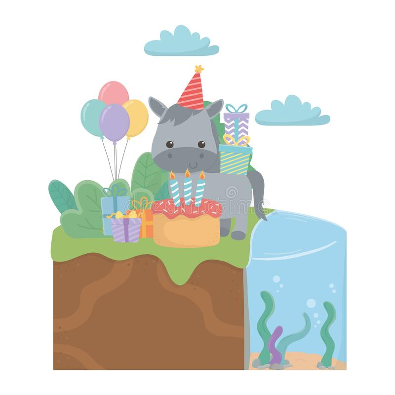 Donkey cartoon with happy birthday icon design. Donkey cartoon design, Animal happy birthday celebration decoration and surprise theme Vector illustration vector illustration