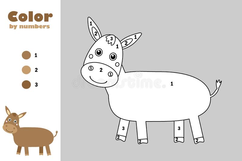 Donkey in cartoon style, color by number, education paper game for the development of children, coloring page, kids préscolol illustration libre de droits