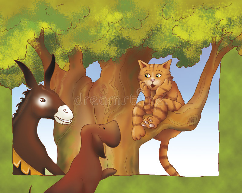 Donkey dog and cat talking. A donkey, a dog and a cat are talking together. Digital illustration of the Grimms fairy tale: Bremen town musicians