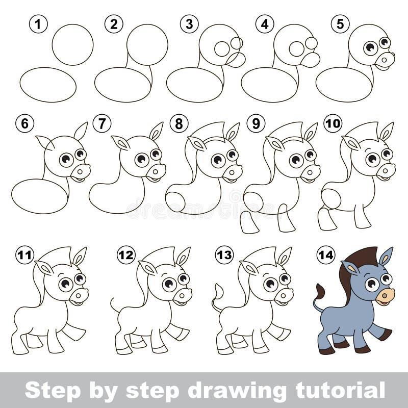 Donkey. Drawing tutorial. vector illustration