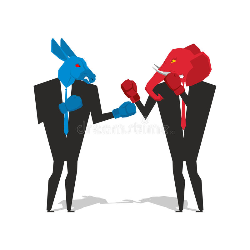 Donkey and elephant are boxing. Democrat and Republican fight. B. Usinessmen combat in business suit and boxing gloves. Battle of the red and blue donkey vector illustration
