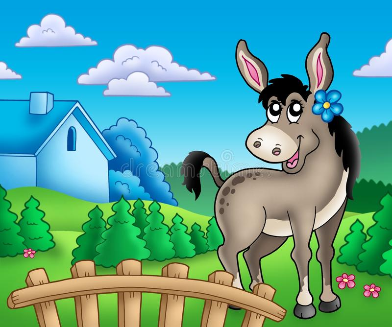Download Donkey With Flower Behind Fence Stock Images - Image: 14832184
