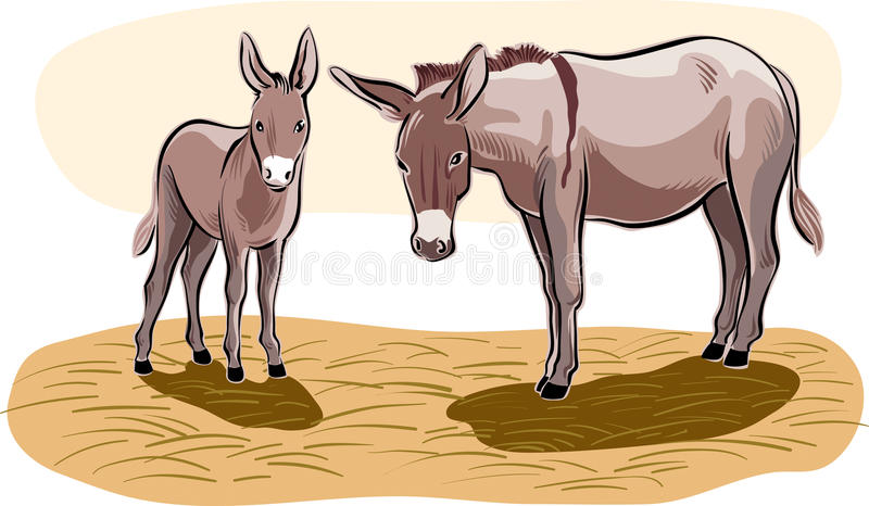 A donkey with little puppy. A donkey with her little puppy vector illustration