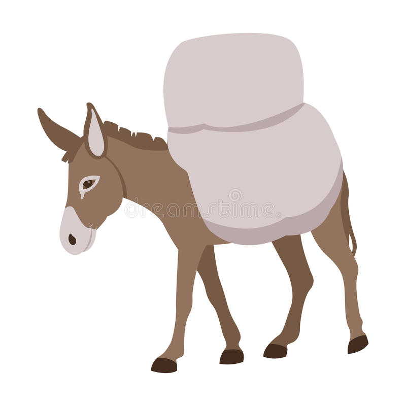 Donkey loaded with vector flat royalty free illustration