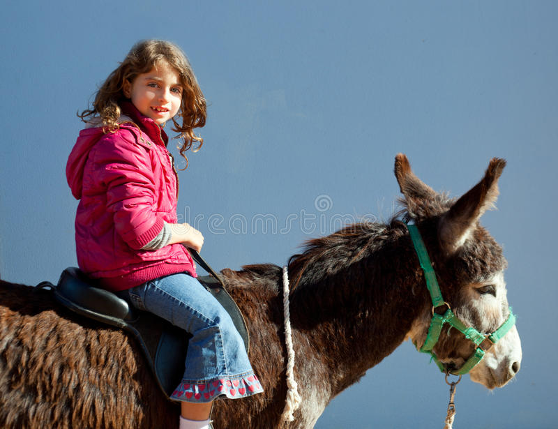Donkey mule with kid little girl riding happy stock photo