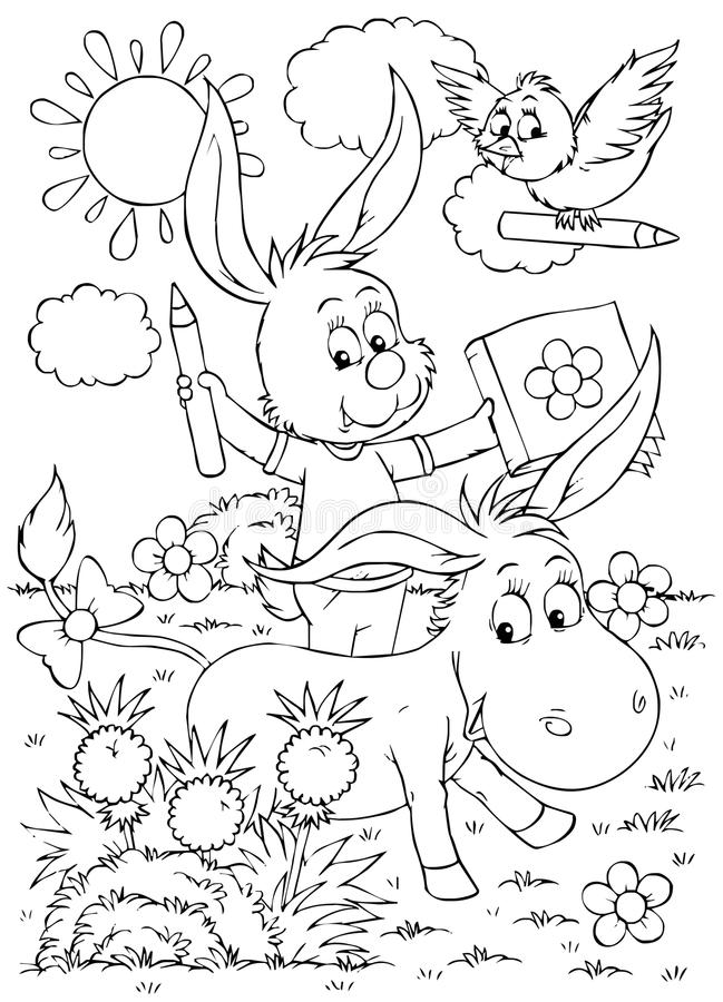 Download Donkey, rabbit and bird stock illustration. Image of tale - 15045449