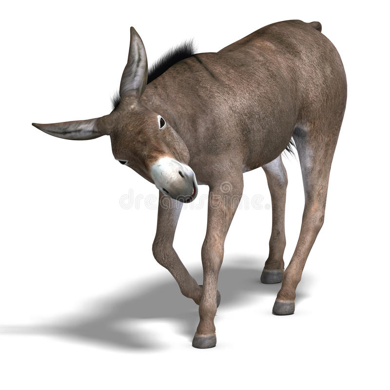 Donkey Render. Rendering of a mule with Clipping Path over white royalty free illustration