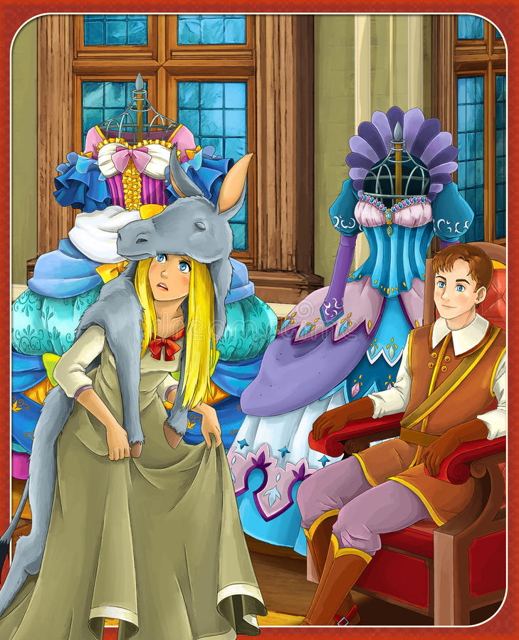 The donkey skin - Prince or princess - castles - knights and fairies - illustration for the children