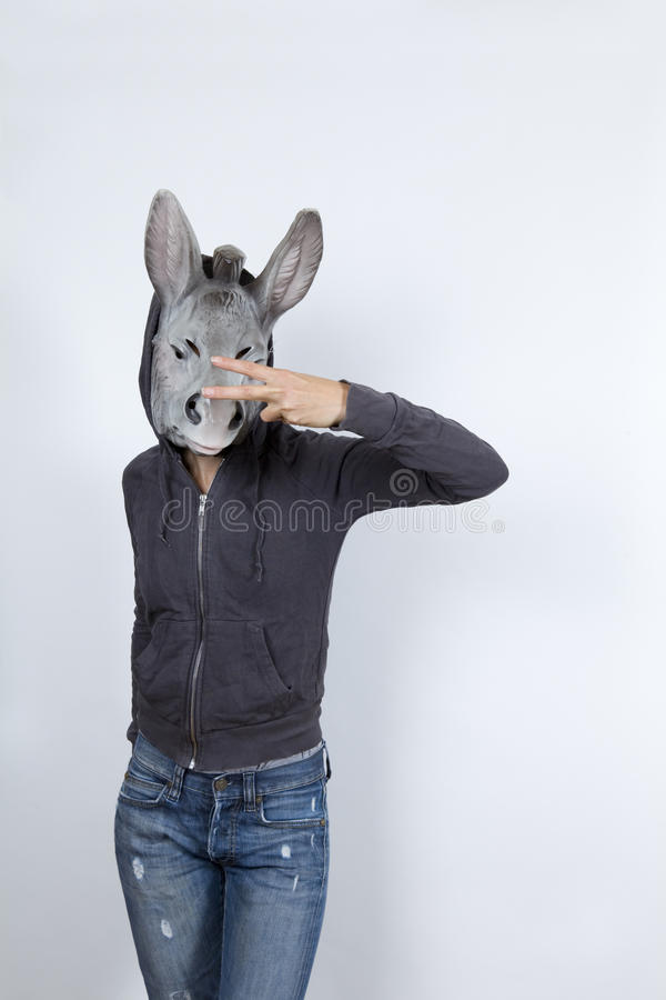 Donkey wearing a hoodiesDonkey wearing a hoodies. Woman wearing a donkey mask and miming hip hop culture She is wearing a hoody and a jeans with holes royalty free stock images