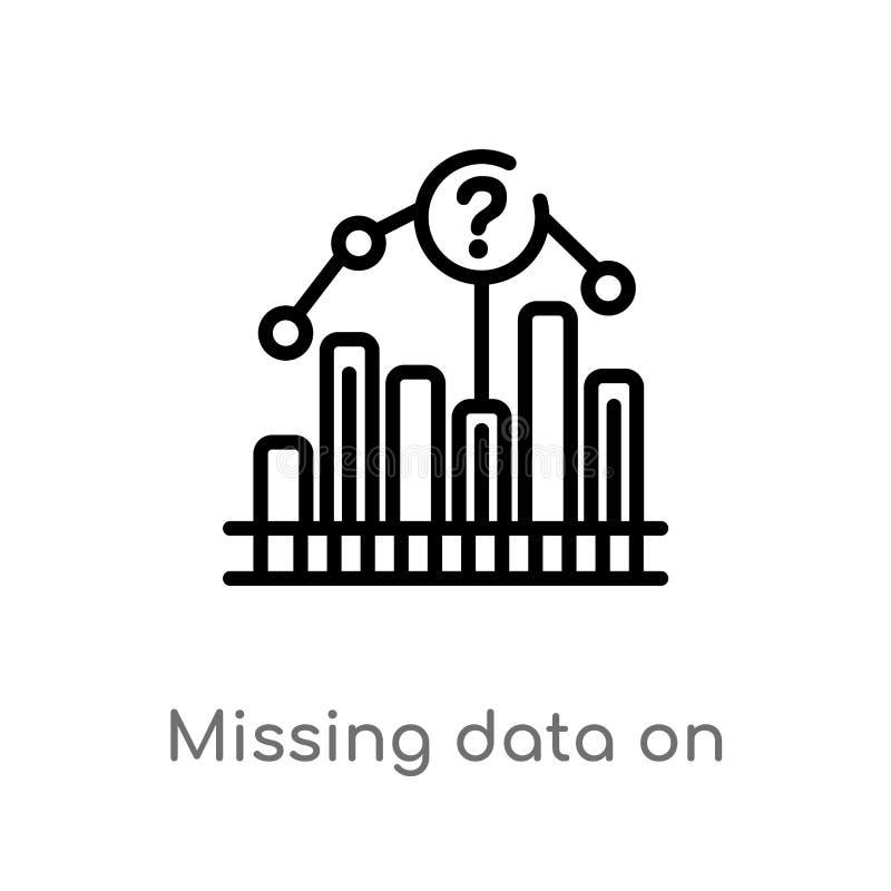 données absentes d'ensemble sur icône analytics de vecteur de symbole graphique à traits ligne simple noire d'isolement illustrat illustration libre de droits