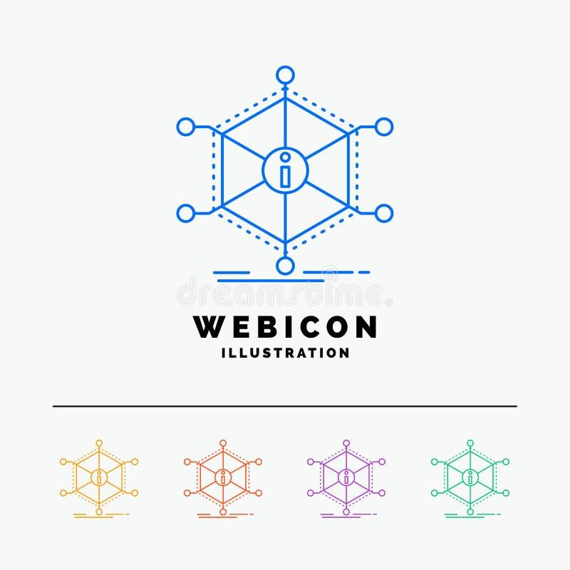 Données, aide, l'information, l'information, discrimination raciale des ressources 5 calibre d'icône de Web d'isolement sur le bl illustration libre de droits