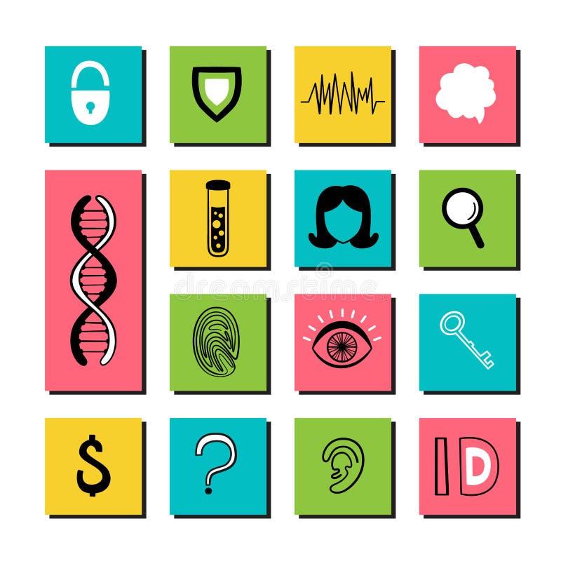 Données biométriques Ensemble de vecteur d'icônes et d'inscriptions tirées par la main Empreintes digitales, ADN, globe oculaire, illustration de vecteur