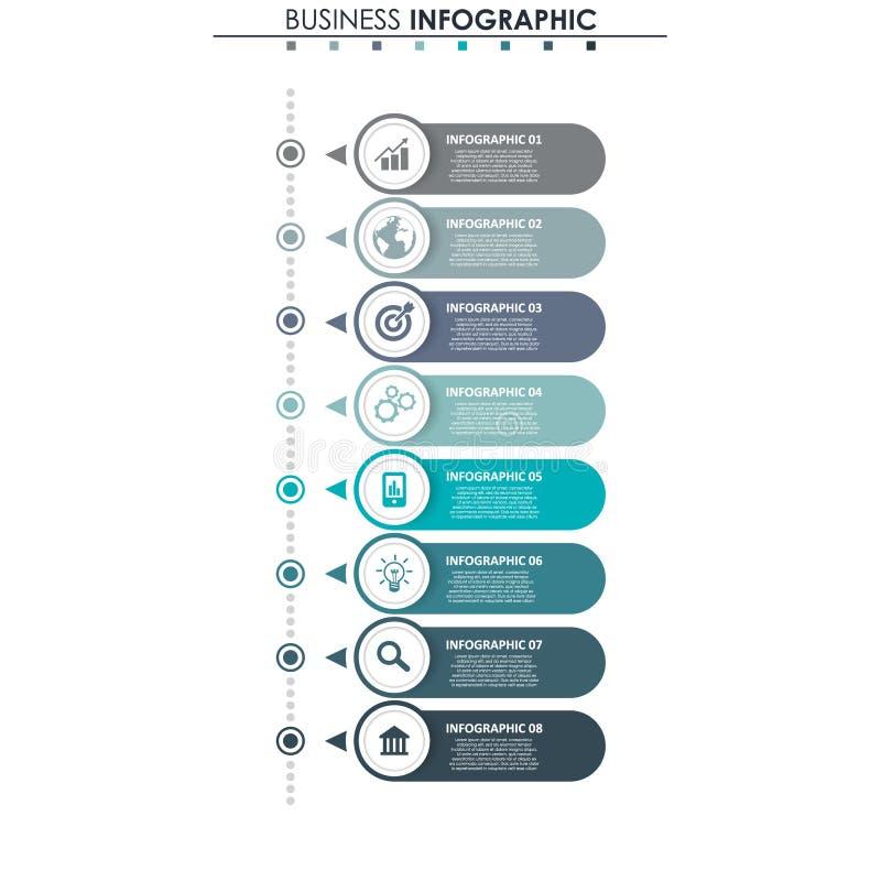 Données commerciales, diagramme Éléments abstraits de graphique, de diagramme avec 8 étapes, de stratégie, d'options, de pièces o illustration stock