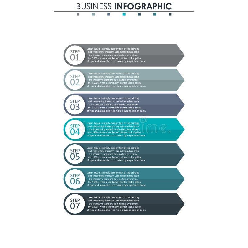 Données commerciales, diagramme Éléments abstraits de graphique, de diagramme avec 7 étapes, de stratégie, d'options, de pièces o illustration de vecteur
