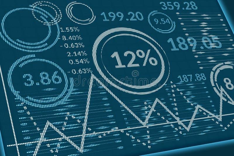 Données commerciales sur l'écran de pixels Vue de perspective de moniteur d'ordinateur ou de table de l'information avec des grap photo libre de droits
