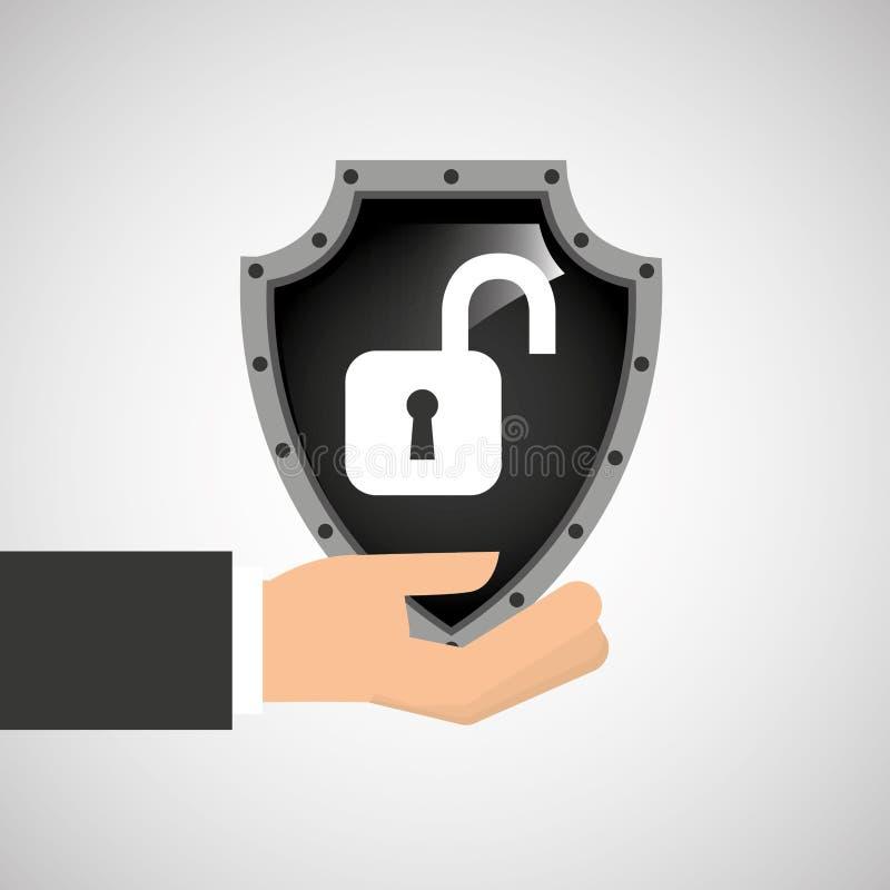 Données de bouclier de degré de sécurité de cadenas de participation de main illustration libre de droits