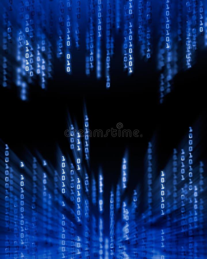 Données de code binaire circulant sur l'affichage illustration de vecteur
