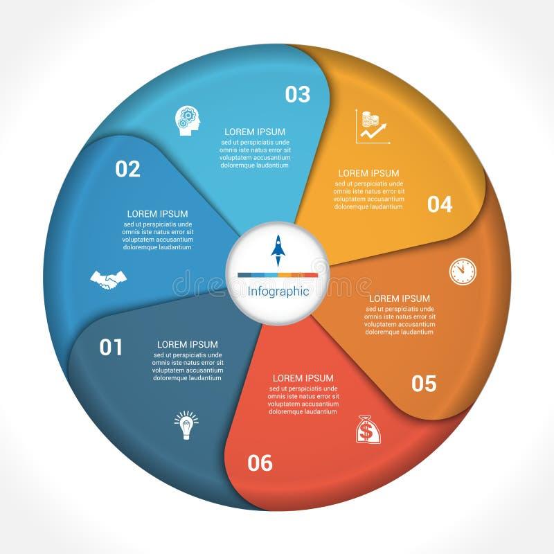 Données 6 de diagramme de graphique circulaire d'affaires illustration de vecteur