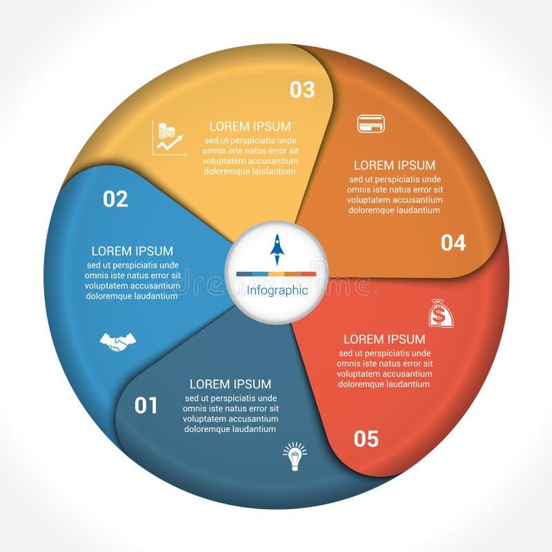 Données 5 de diagramme de graphique circulaire d'affaires illustration stock