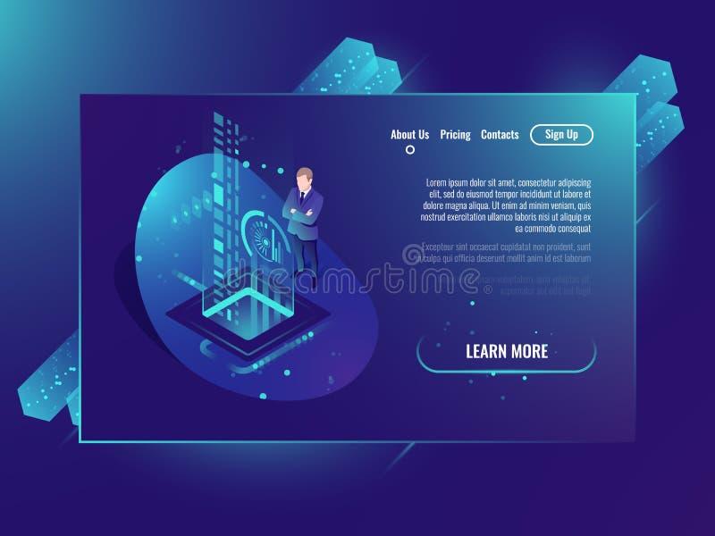 Données de manipulation de données, d'analyse et investissement, réussite commerciale, l'ultraviolet au néon isométrique de centr illustration stock