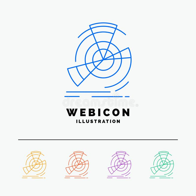 Données, diagramme, représentation, point, discrimination raciale de la référence 5 calibre d'icône de Web d'isolement sur le bla illustration de vecteur