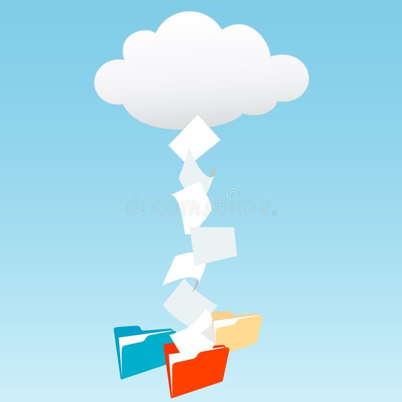 Données du nuage calculant dans des dépliants de fichier illustration stock
