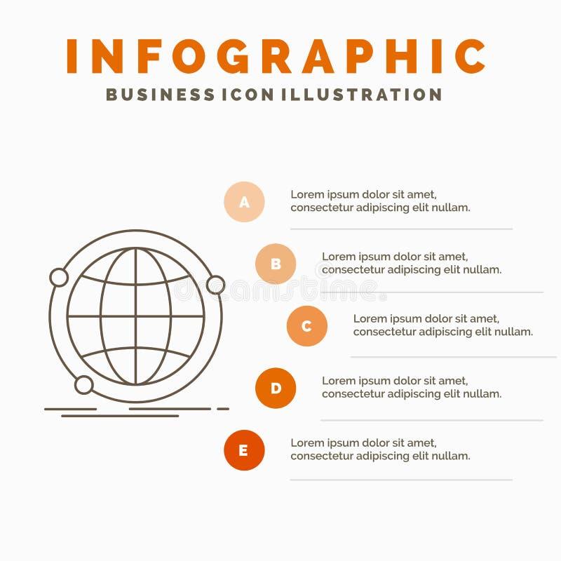 Données, global, Internet, réseau, calibre d'Infographics de Web pour le site Web et présentation Ligne ic?ne grise avec infograp illustration de vecteur