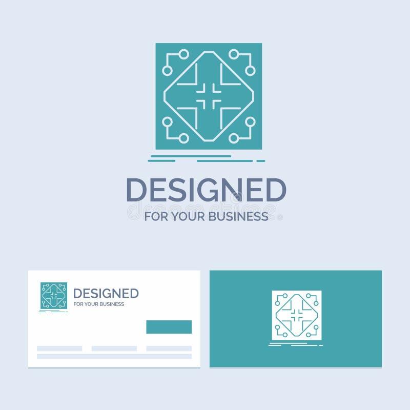 Données, infrastructure, réseau, matrice, affaires Logo Glyph Icon Symbol de grille pour vos affaires Cartes de visite profession illustration stock