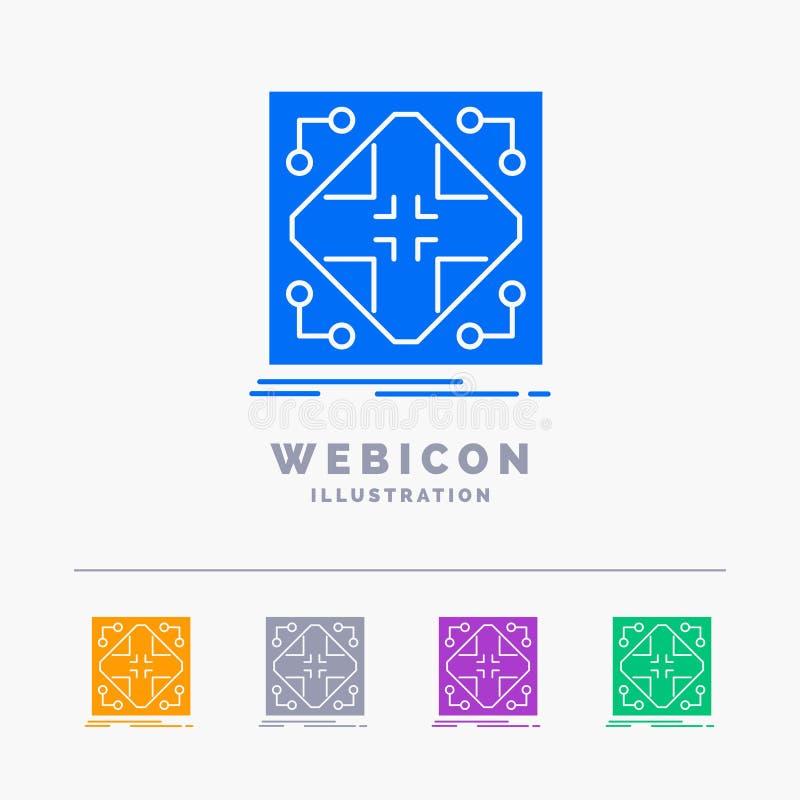 Données, infrastructure, réseau, matrice, calibre d'icône de Web de Glyph de couleur de la grille 5 d'isolement sur le blanc Illu illustration libre de droits