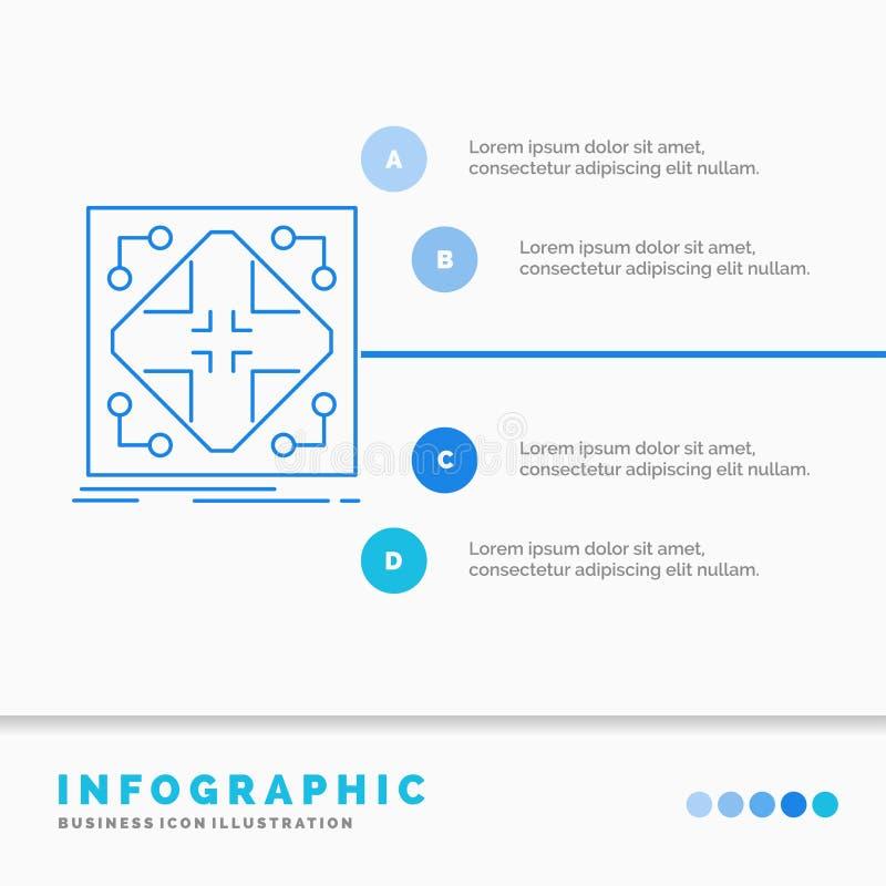 Données, infrastructure, réseau, matrice, calibre d'Infographics de grille pour le site Web et présentation Ligne style infograph illustration stock