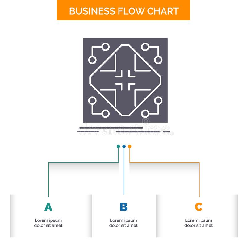 Données, infrastructure, réseau, matrice, conception d'organigramme d'affaires de grille avec 3 étapes Ic?ne de Glyph pour le fon illustration stock