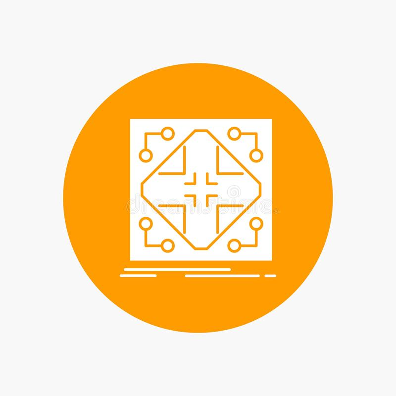 Données, infrastructure, réseau, matrice, icône blanche de Glyph de grille en cercle Illustration de bouton de vecteur illustration libre de droits