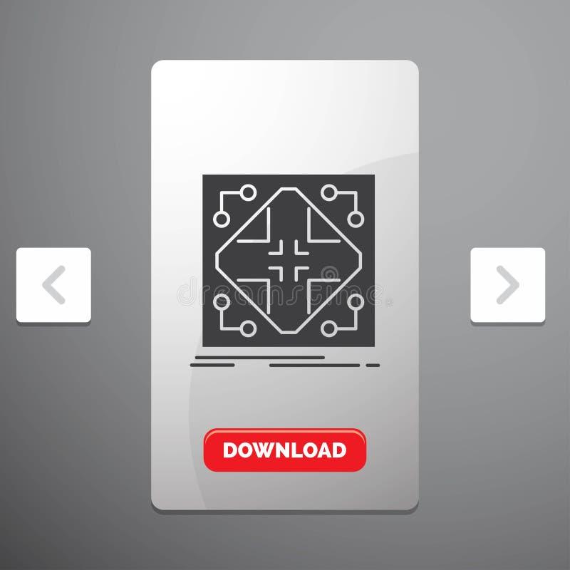 Données, infrastructure, réseau, matrice, icône de Glyph de grille dans la conception de glisseur de paginations de beuverie et b illustration de vecteur