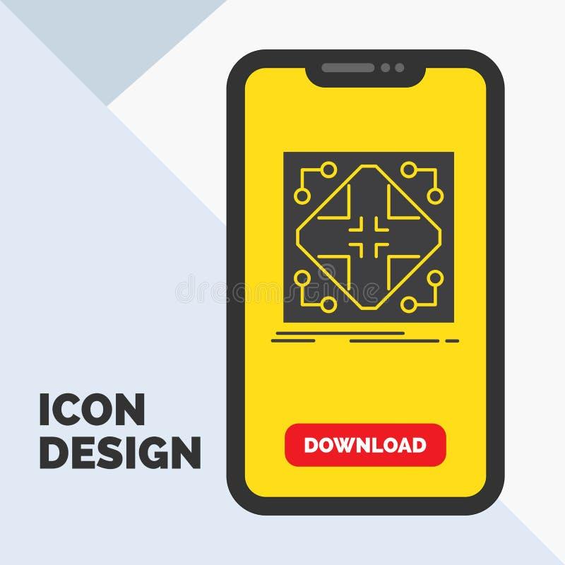 Données, infrastructure, réseau, matrice, icône de Glyph de grille dans le mobile pour la page de téléchargement Fond jaune illustration de vecteur