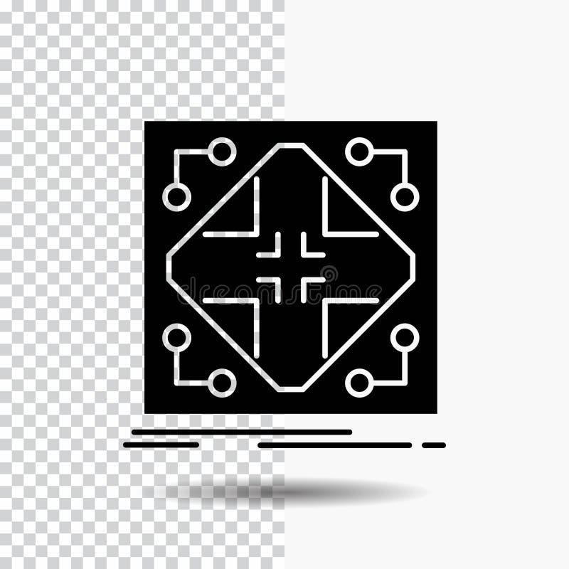 Données, infrastructure, réseau, matrice, icône de Glyph de grille sur le fond transparent Ic?ne noire illustration de vecteur