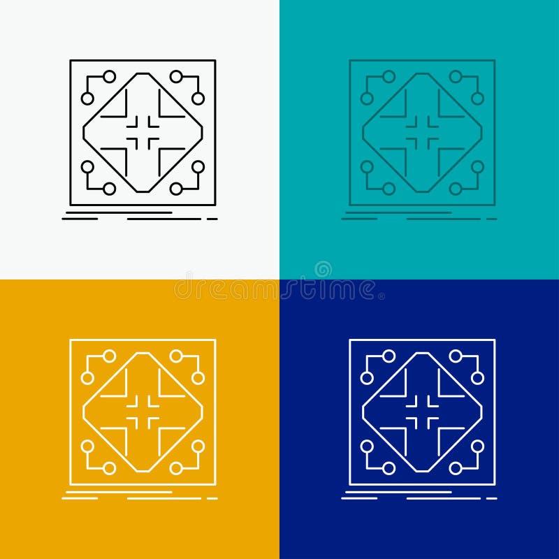 Données, infrastructure, réseau, matrice, icône de grille au-dessus de divers fond Ligne conception de style, con?ue pour le Web  illustration libre de droits