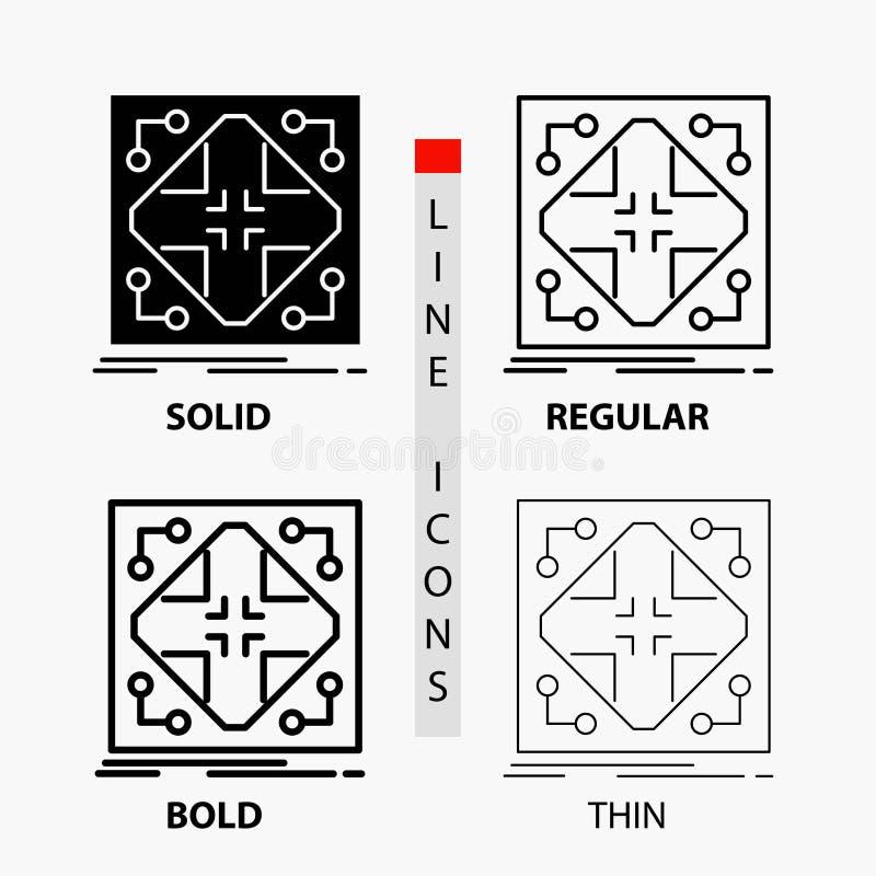 Données, infrastructure, réseau, matrice, icône de grille dans la ligne et le style minces, réguliers, audacieux de Glyph Illustr illustration de vecteur