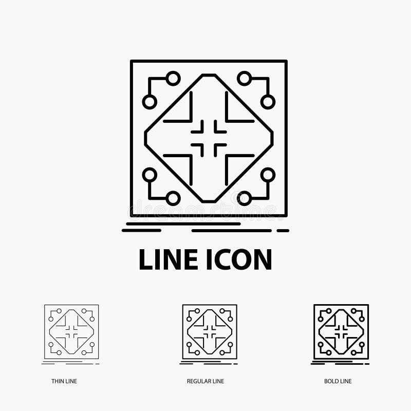 Données, infrastructure, réseau, matrice, icône de grille dans la ligne style mince, régulière et audacieuse Illustration de vect illustration libre de droits
