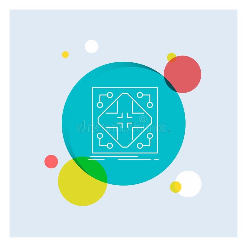 Données, infrastructure, réseau, matrice, ligne blanche fond coloré de grille de cercle d'icône illustration stock